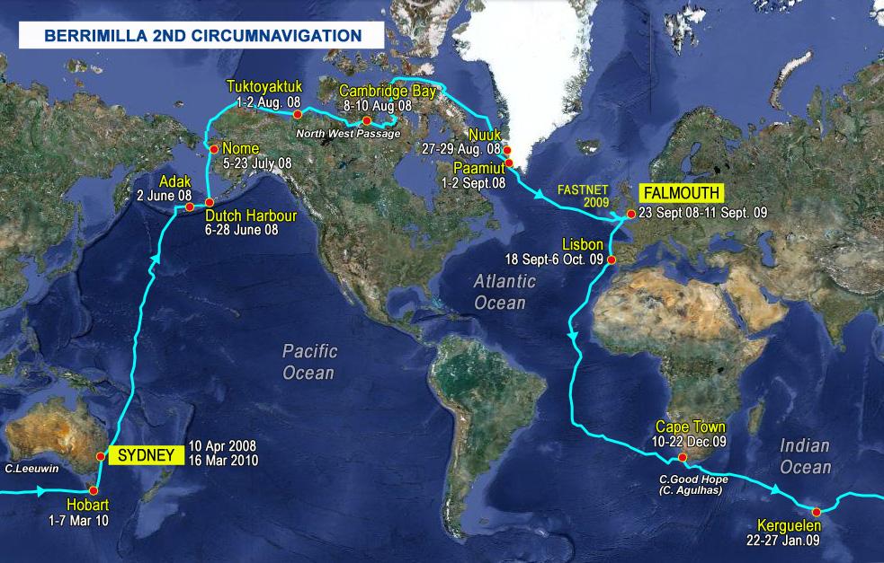 Voyage Summary Berrimilla - World waterways map